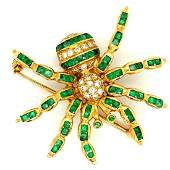 18K YG Emerald & Diamond Spider Brooch