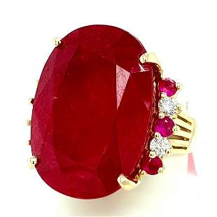 Certified 14K Glass-Filled Ruby & Diamond Ring