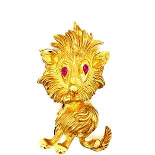 18K YG Lion Brooch with Ruby Eyes