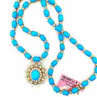 Certified 14K YG Turquoise and Diamond Necklace
