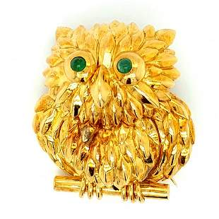Tiffany & Co. 18K YG Owl with Emerald Eyes