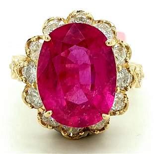 Certified 14K YG Pink Tourmaline and Diamond Ring