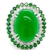 Certified 14K WG Diamond, Jade and Tsavorite Ring