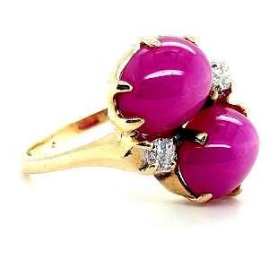14k Yellow Gold Star Sapphire & Diamond Ring