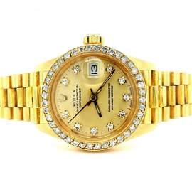Ladies 18K Gold Rolex Datejust Diamond Dial and Bezel
