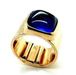 14K YG Blue Sapphire Ring