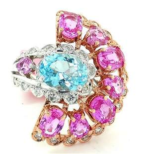 Certified 14K 2T Aquamarine and Pink Sapphire Ring