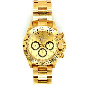 Men's 18K Gold Daytona Rolex with Box & Papers