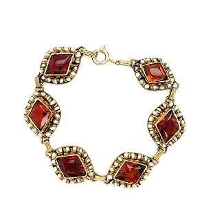 Edwardian Pearl and Citrine 14k Gold Bracelet