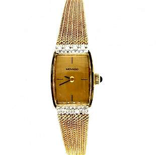 14k Yellow Gold MOVADO Ladies Diamond Watch