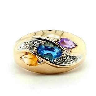 14K Yellow Gold Multi Gemstone & Diamond Ring