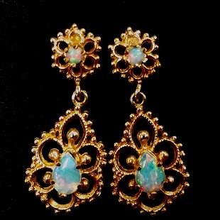 14K Yellow Gold Vintage Opal Earrings