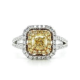 Certified 14K White Gold Yellow Diamond Halo Ring