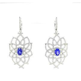 Certified 14K Gold Tanzanite & Diamond Earrings