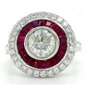 Certified Platinum Ruby & Diamond Ring