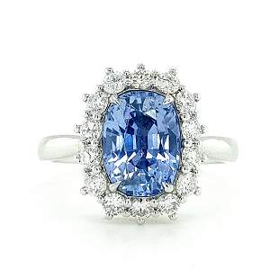 Certified 18K White Gold Sapphire Diamond Ring