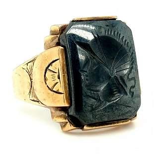 10K Yellow Gold Hematite Intaglio Ring