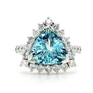 Certified 14K White Gold Aquamarine Diamond Ring