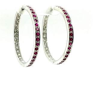 18k White Gold Ruby and Diamond Hoop Earrings