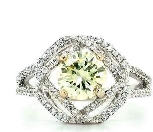 GIA Certified 18K Gold GreenishYellow Diamond Ring