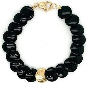 14K Yellow Gold Onyx Bracelet