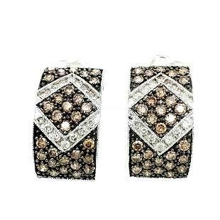 14K Gold Chocolate & Vanilla Diamond Earrings