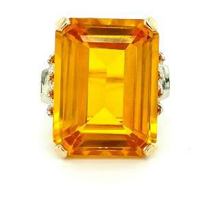14K Yellow Gold Large Citrine Ring
