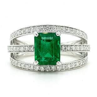 Certified Platinum Emerald & Diamond Ring