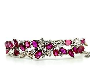 18K Gold Palladium Ruby Diamond Cuff Bracelet