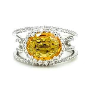 Certified Platinum Yellow Sapphire & Diamond Ring