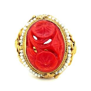 14K Yellow Gold Red Coral and Seed Pearl Ring