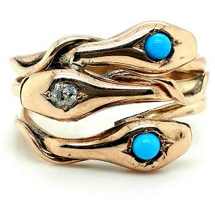 10K Yellow gold blue stone & diamond snake ring