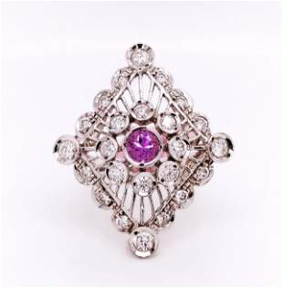 Certified 14K Gold Pink Sapphire & Diamond Ring