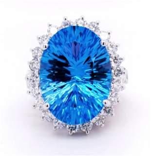 Certified 14K White Gold Blue Topaz & Diamond Ring