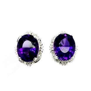 Certified 14K Gold Amethyst and Diamond Earrings