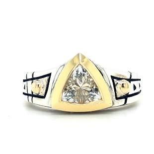 Signed John Atencio Silver and 18K Gold CZ Ring