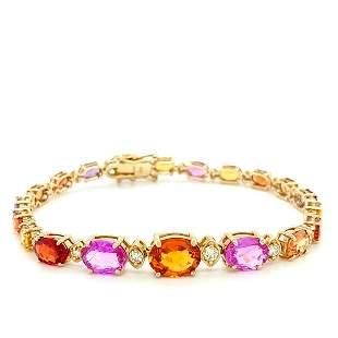 Certified 14K Gold Diamond & Sapphire Bracelet