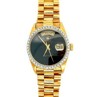 Men's 18K Gold Rolex Onyx Dial & Diamond Bezel