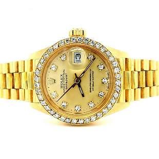 Ladies 18K Gold Rolex Datejust Diamond Dial &Bezel