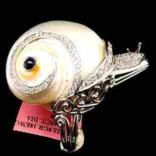 Certified 18K Gold Sapphire Diamond Snail Ring