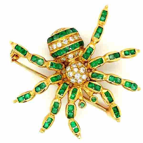 18K Yellow Gold Emerald & Diamond Spider Brooch