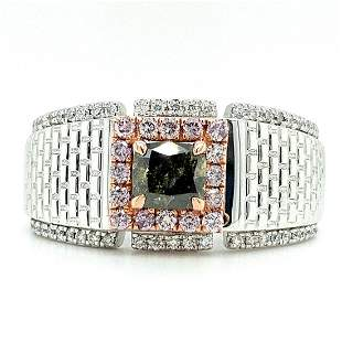 Certified 14K Gold Multicolored Diamond Ring