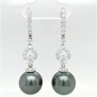 Certified 14K Gold Tahitian Pearl Diamond Earrings