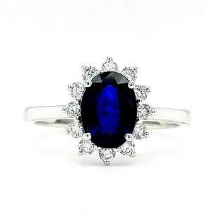Certified 14K White Gold Sapphire & Diamond Ring