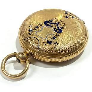 18K Gold Enameled Beguelin Houriet Pocket Watch