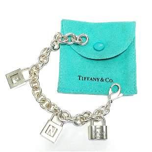Signed Tiffany & Co Silver Padlock Bracelet