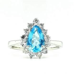 Certified 14K White Gold Aquamarine & Diamond Ring