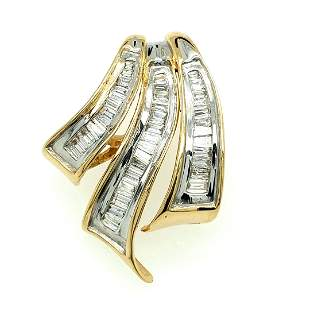 14KT Gold Two Tone 1.00 CT Diamond Slide Pendant