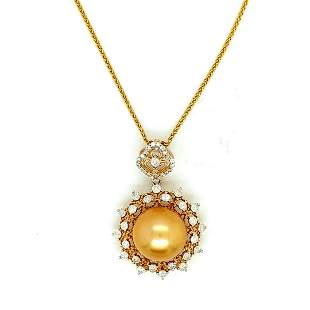 Certified 18K Yellow Gold South Sea Pearl Necklace