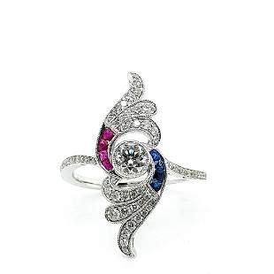 Certified 18K Gold Sapphire, Ruby & Diamond Ring